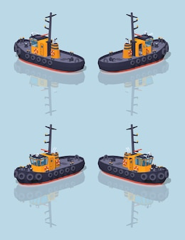 Low poly orange and black tugboat.