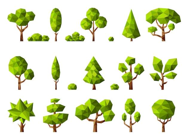低ポリ植物。幾何学的な漫画の様式化された木緑の自然植物コレクション。イラスト幾何学ツリー、多角形の抽象的な植物