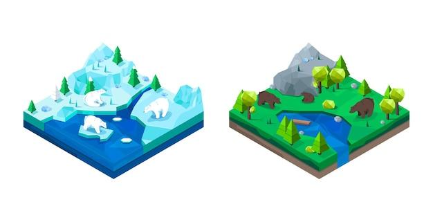 계절 풍경에 낮은 폴리 북극곰과 갈색 곰.
