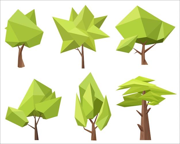 Low poly polygon trees set