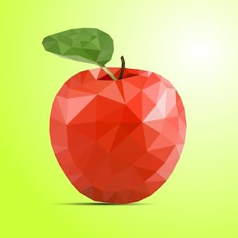 Низкополигональная красное яблоко на зеленом фоне