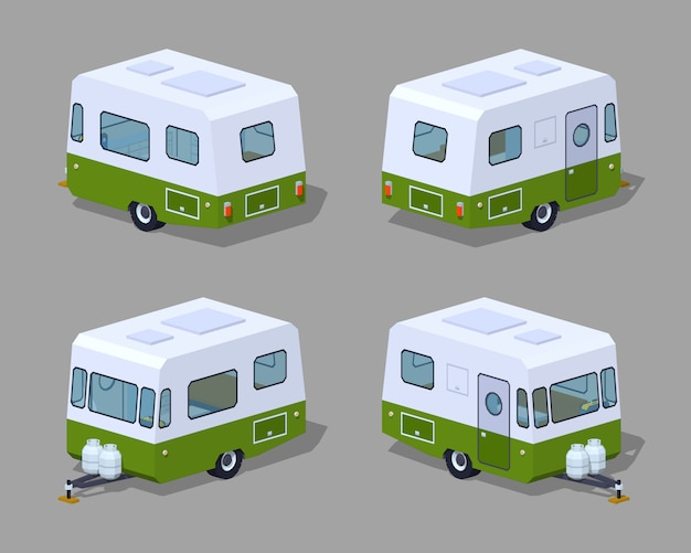 Low poly retro motor home