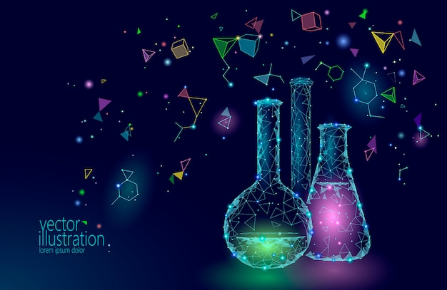 Low poly science chemical glass flasks, magical equipment