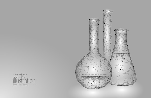 Low poly science chemical glass flasks