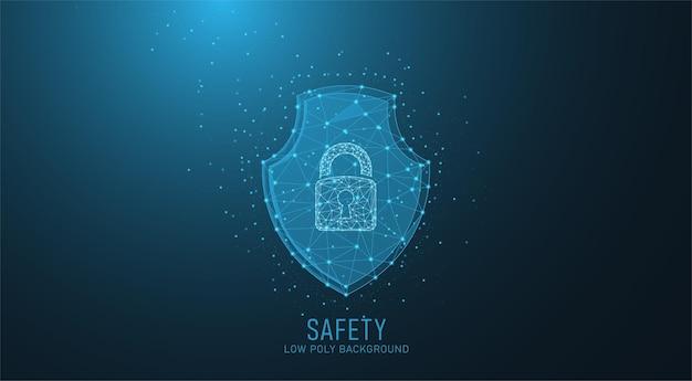 폴리곤 스타일의 낮은 폴리 보안 실드 잠금. 미래 기술 개념 인터넷 개인 정보 보호 또는 사이버 방어 벡터 일러스트 바이러스 백신