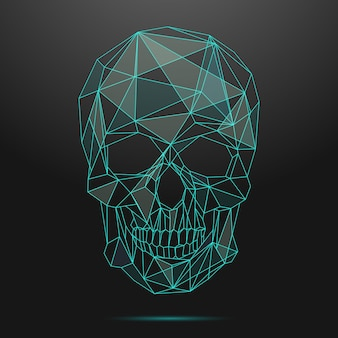 Low poly skull. thin line skull. skull linear, low poly head skull, shape geometric line skull illustration