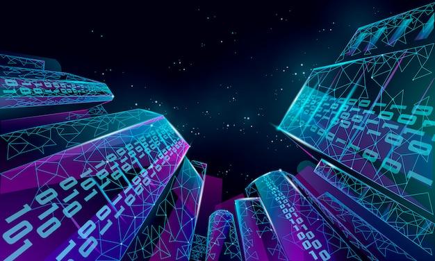 낮은 폴리 스마트 시티 와이어 메쉬. 지능형 빌딩 자동화 시스템 비즈니스 개념입니다. 이진 코드 번호 데이터 흐름. 건축 도시 도시 기술 스케치 배너