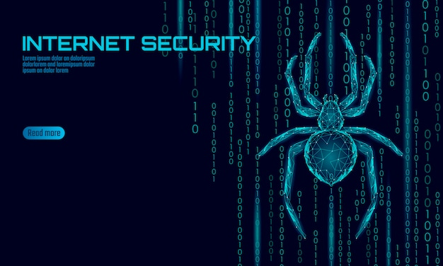 Low poly spider hacker attack danger. web security virus data safety antivirus concept. polygonal modern design business concept. cyber crime web insect bug technology   illustration