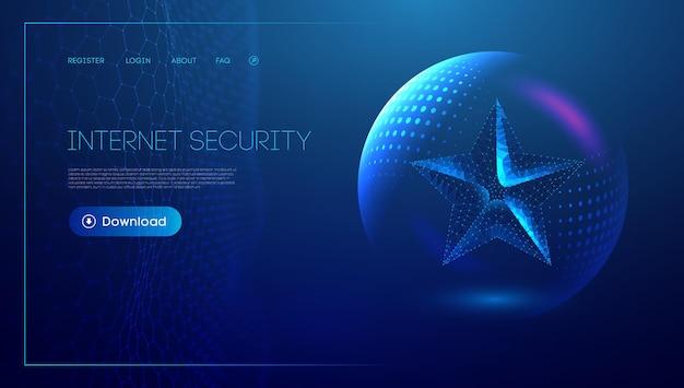 青の背景に低いポリスター。デジタル技術抽象ブルースターホリデーコンセプト。ビジネス技術の概念。 eps10。