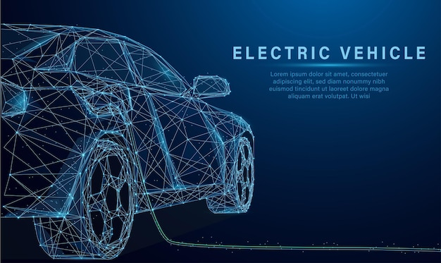 Low poly style design vector of ev car or electric vehicle at charging station