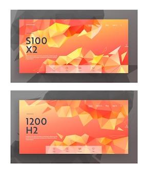 低ポリスタイルのウェブサイトのランディングページのバナーセット、三角形の多角形パターンのモダンな背景。折り紙スタイル、赤、オレンジ黄色の創造的な幾何学的なデザイン。 webページ、ベクトル図