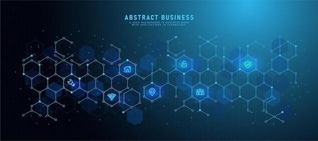 フラットアイコンとビジネスシンボルと低ポリ技術の背景