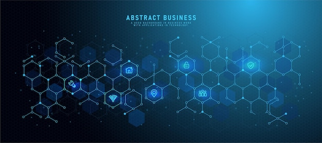 Low poly technology background with flat icons and business symbols