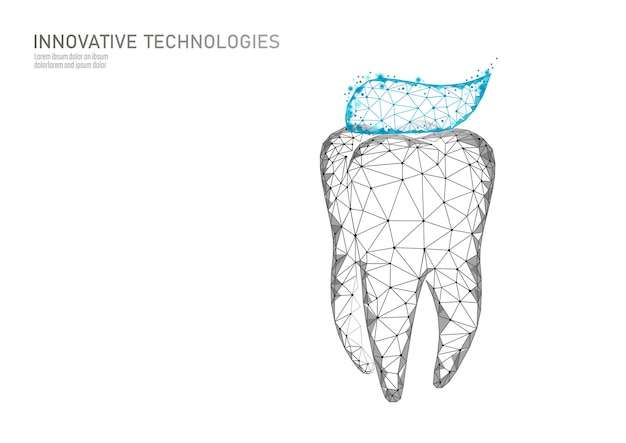 Low poly tooth protection medical concept.