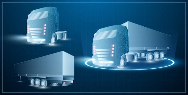 低ポリ輸送抽象トラック。青い背景のトレーラー、別のトレーラー、別のトラックにヒッチハイクしたトラック。ローリーバン短納期配送ロジスティック。
