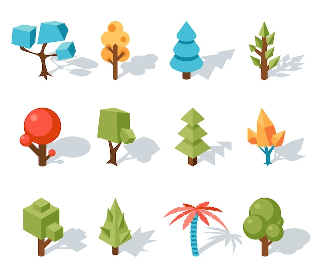 Low poly tree icons, vector isometric 3d. forest and leaf, palm and trunk, colorful foliage, tropical floral