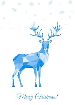 低ポリ三角鹿。白い背景の上の青い多角形のトナカイとクリスマスのグリーティングカード。折り紙風のベクトルイラスト。