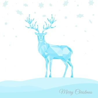 低ポリ三角鹿。冬の背景に青いトナカイとクリスマスのグリーティングカード。折り紙風のベクトルイラスト。