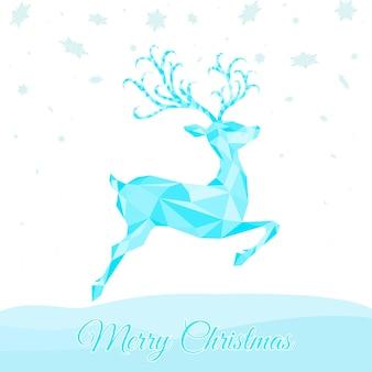 青いトナカイと低ポリ三角形ジャンプ鹿クリスマスグリーティングカード