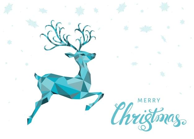 低ポリ三角形のクリスマス鹿。青いジャンプトナカイと雪片のクリスマスグリーティングカード。折り紙風のベクトルイラスト。