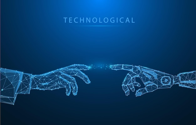 Low poly vector illustration of robot or cyborgs arm and hand human touch technological concept