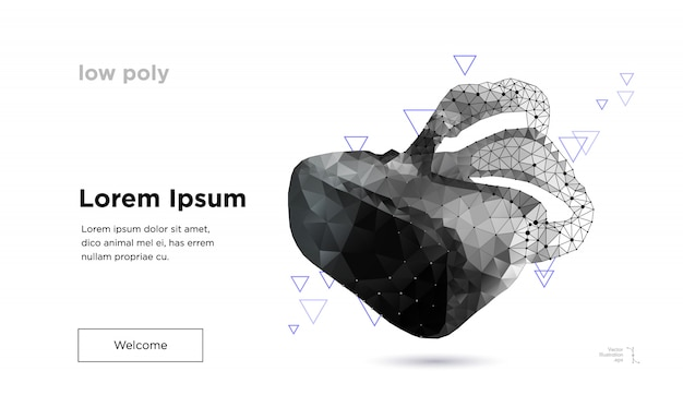 Low poly virtual reality goggles landing page template