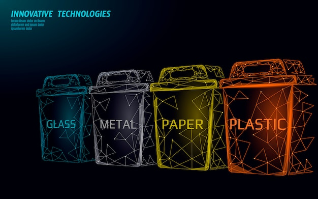 Low poly waste separation 3d concept. garbage recycle plastic aluminium paper glass container bin. polygonal ecological save planet campaign. urban trash movement  illustration