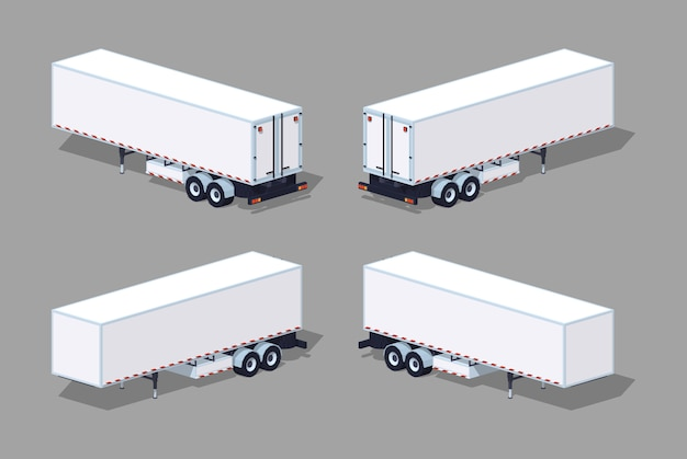Low poly white cargo trailer