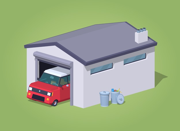 Low poly white garage and red car