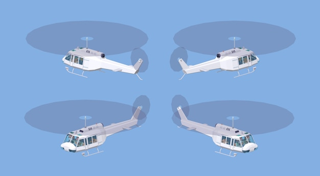 Low poly white helicopter