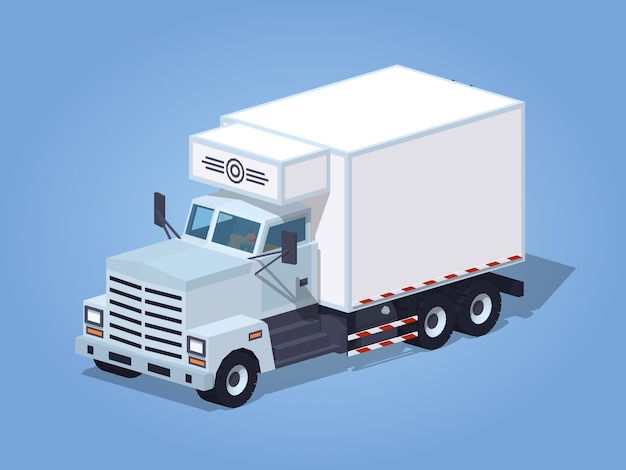 Low poly white truck refrigerator