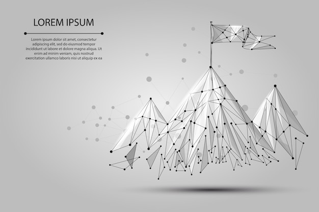 Low poly wireframe flag on the top of mountain. success in business, top or goal symbol