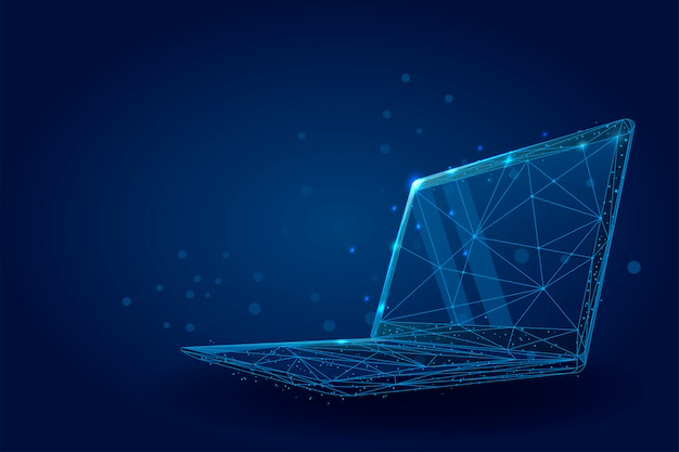 Low poly wireframe laptop. plexus lines and points illustration