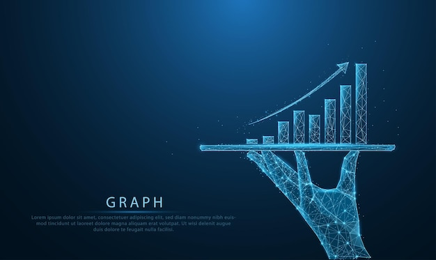 Низкополигональная каркасная бизнес-модель, держащая планшет и показывающая голографические графики