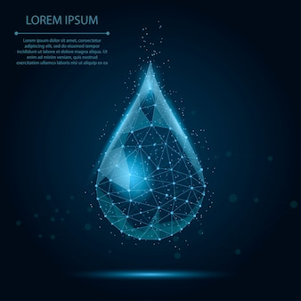 Low poly wireframe water drop with dots and stars. fresh aqua or liquid, eco nature