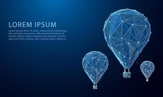 Низкополигональная с воздушными шарами летит в небо, светится синим цветом. дизайн в стиле треугольника с низким многоугольником.
