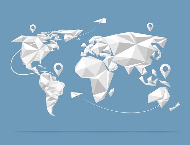 낮은 폴리 세계지도. 지구 아틀라스 배경에 고립입니다. 삽화