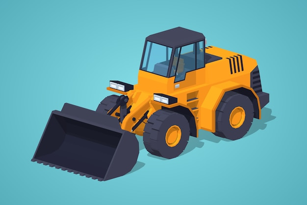 Low poly yellow heavy bulldozer