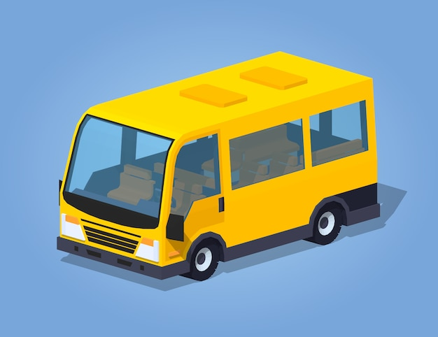 Low poly yellow passenger van