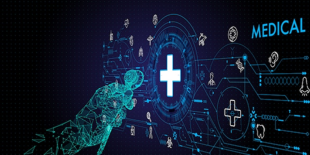 의료 기술 네트워크 개념 병원에서 청진 기 및 ui 아이콘 의료와 낮은 다각형 의사 손.
