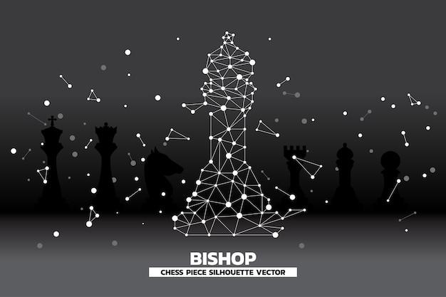 ビショップチェスピースベクトルの低ポリゴンドット接続線。