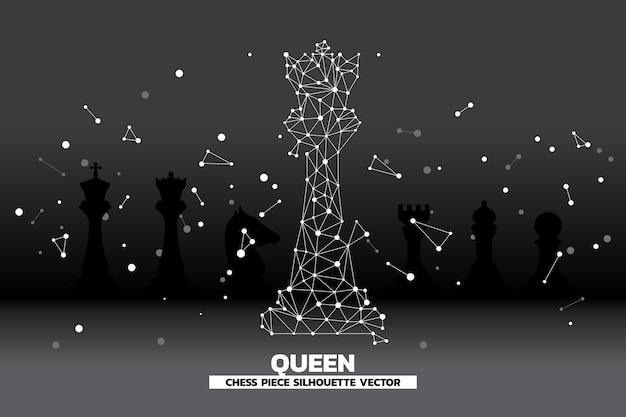 Low polygon dot connected line of queen chess piece vector.