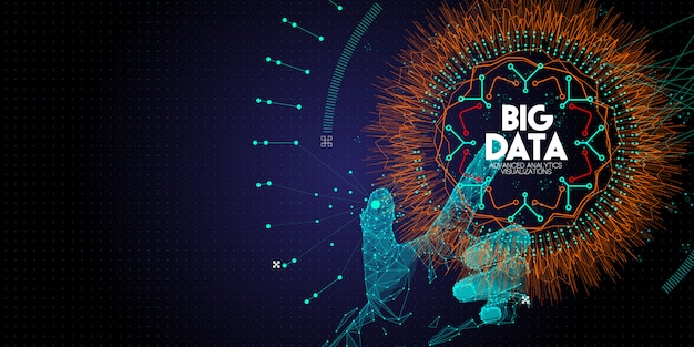 Low polygon hand touching big data advanced technology and visualization with fractal element with lines and dots array.