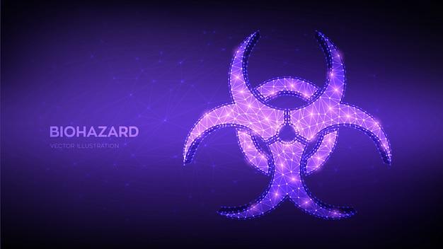 Low polygonal abstract biohazard, epidemic, virus alert, quarantine, contamination sign.