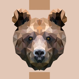 Low polygonal bear head vector