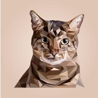 低ポリゴン猫の頭のベクトル
