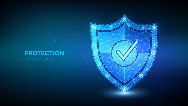 Низкая полигональная галочка на защитном щите. защита или безопасная бизнес-концепция. кибербезопасность и безопасность сети.