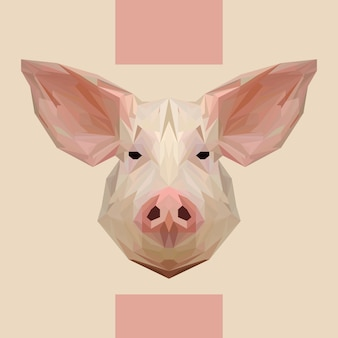 Low polygonal pig head vector
