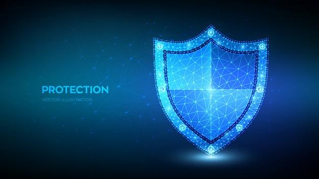Низкий многоугольный защитный щит. защита или безопасная бизнес-концепция. кибербезопасность и информационная или сетевая безопасность.