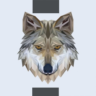 Low polygonal wolf head vector